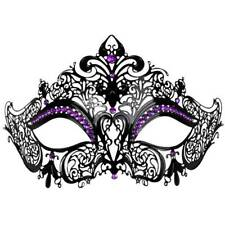 MASQUERADE MASK VENETIAN STYLE PARTY BLACK LACE METAL WITH PURPLES DIAMANTES A