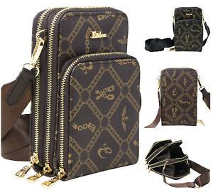Ladies Eslee Cross Print Multi Section Cross Body Bag Women Clutch Pouch Handbag