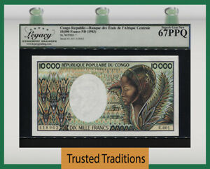 TT PK 7 1983 CONGO REPUBLIC 10000 FRANCS BOLDLY PRINTED LCG 67 PPQ SUPERB GEM
