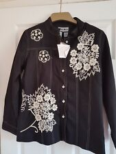 "Indigo Moon Jacket Sz Small -  BLACK wth Cream Flower Embroidery - 40"" Bust"