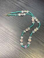 "Vintage Bohemian Aqua Clear Art Glass Beaded Bib Statement Necklace 22"""