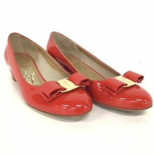 Salvatore Ferragamo Vara Bow-Embellished Red Patent Leather Pumps Florence #554