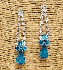 Silver and Blue Zircon Rhinestone FASHION Earrings
