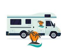 Gráfico de vinilo palmeras Sunset Autocaravana Camper Caravana Horsebox Pegatina de Coche