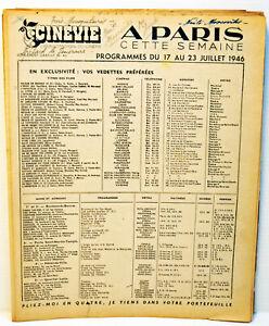 """15 suppléments programmes de la revue CINEVIE """" A PARIS CETTE SEMAINE """" -1946/48"""