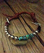 Men's Turquoise & Sterling Silver Bead Cuff Bracelet Soft Brown Sundance Leather