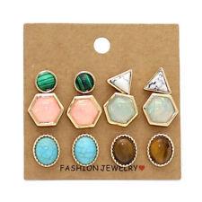 6 Pair Geometric Hexagon Triangle Oval Round Stud Earrings Mini Hot Jewelry Sets