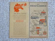 Orig SHELL RIESENGEBIRGE KARTE  30er J. Tourenkarte Touren f OLDTIMER Ausfahrten