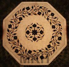 12'' Marble Corner Table Top Inlay Work Pietradura Handicraft Lapis Stone Mosaic