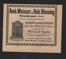 UNTERKIRNACH, Anzeige 1909, Amb. Weissner vorm. Hub. Blessing Fabrik Orchestrion