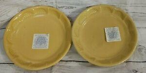 "ROBINSON RANSBOTTOM 7.25"" Golden Yellow TWO Hobnail Rim Plates"