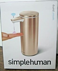 Simple human Rechargeable Sensor Pump 9oz Rose Gold Stainless Steel New Open Box