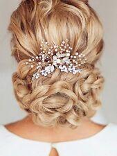 Venusvi Silvery Wedding Hair Combs with Bead and Rhinestones - Bridal Headpiece