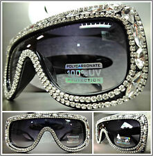 OVERSIZE VINTAGE RETRO SHIELD Style SUN GLASSES Unique Black Frame & Rhinestones