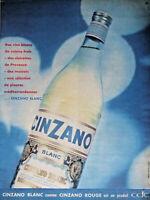 PUBLICITÉ DE PRESSE 1958 CINZANO BLANC PRODUIT CDC - ADVERTISING