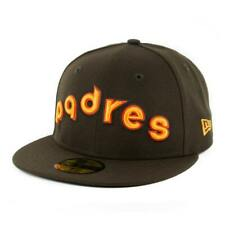 """New Era 59Fifty San Diego Padres """"Script"""" Fitted Hat (Brown) Men's MLB Cap"""