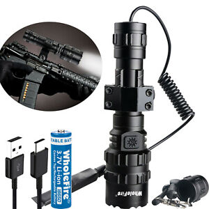 9000lm Tactical Gun Flashlight +Picatinny Rail Mount+Switch for Hunting Shooting