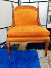 FRENCH LOUIS STYLE CARVED ARMCHAIR.. REUPHOLSTERED IN A GOLD SHOT SILK FABRIC