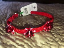 ADORABLE NWT Christmas Red Cat Safety Stretchy Collar With 3 Bells 8-11""