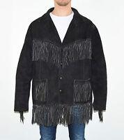 Vintage Black Leather Cowboy Western Tassel Biker Hips Length Coat Jacket Sz XL