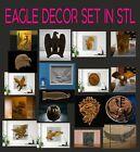 Eagle decor set 19 pcs 3d model relief for cnc in STL file format