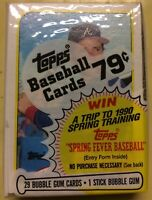 1989 Topps Baseball Cello Pack Mark Lemke Rookie (Top) Ozzie Smith HOF (Back)