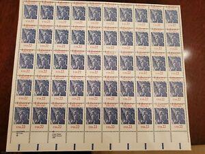 USPS Error Perforation Shift Liberty 22 cent stamp 50 stamp sheet USPS 1886-1986