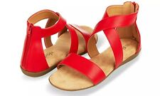 Floopi Womens Criss Cross Gladiator Ankle Strap Sandals Red Size 8 New