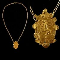 Vintage 1920s French Made Goddess Nymph Fairy Necklace Die Struck