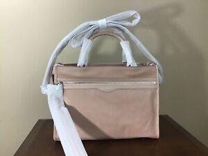 Rebecca Minkoff Bedford Pebbled Leather Top Zip Satchel Doe Pink Silver $348 NWT