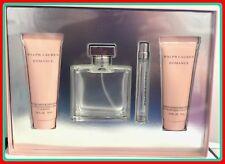 Romance Women By ralph Lauren 4pc Gift Set 3.4oz Spray+Mini+Body Lotion+Shwr Gel