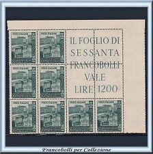 1949 Italia Repubblica Ponte Trinità n. 613 Blocco angolare Nuovo Integro **