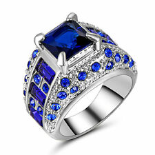 Hot Fashion Lady/Women's Silver Filled Blue Sapphire Wedding Ring Gift size 6