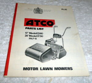 Vintage Atco Parts list Model D14, F24 dated 1967-8