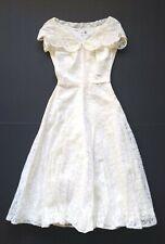 1940s Vintage Xxs Emma Domb Party Lines Ivory Lace Wedding Bridesmaid Dress