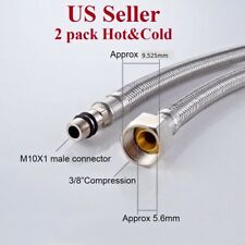 """2 pack 3/8"""" OD Water Supply Hose for kitchen & vanity Faucet Stainless Steel"""