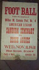 Circa1931 Sanborn Seminary Essex Aggies Football Broadside Sign Made On C-Board