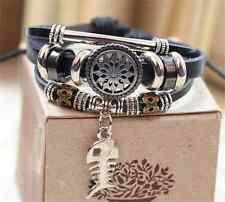 New Jewelry Fashion Infinity Leather Charm Bracelet Silver lots Beads Style Fg24