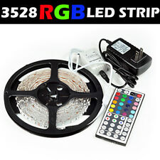5M 3528 RGB Flexible LED Strip Light Kit Power Supply Adapter 44Key IR Remote US