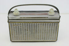 Vintage PHILIPS Portable Radio With Handle Grey Gray Plastic and Leather PX43T
