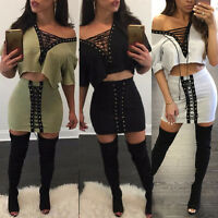 Casual Women Bodycon Two Piece Dress Crop Top Skirt Set Bandage Cotton Outfit XL