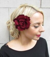 Large Burgundy Wine Deep Red Rose Flower Hair Clip Fascinator Rockabilly 50s J99