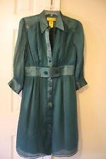 Catherine Malandrino Long Sleeve Teal Blue Green Silk Career Dress 8 M