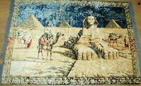 VTG 60's Wall Tapestry Area Rug Egypt Sphinx Pyramid Camel Velour Fringe 6' x 4'