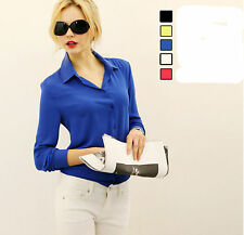 1pc Blue Size XL Fashion Ladies Long Sleeve career Chiffon Blouse Button Casual