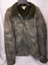 Woolrich Womens Faux Suede Fleece Jacket Size Medium Light Olive Green