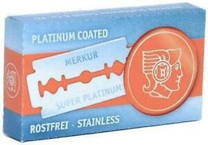 Merkur Super Platinum Stainless Double Edge DE Razorblades Razor Blades- 10 Pack