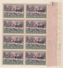 "Liberia # 203 MNH Block of 8 ""1921"" Overprint Issue CV $30+"