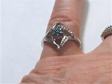 """Vtg Sterling Silver """"Star"""" Ring with Natural Rough & Fancy Teal Diamond  Sz 8"""