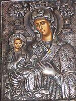 Religioussilver  plate.  plaque religieuse en argent Icone